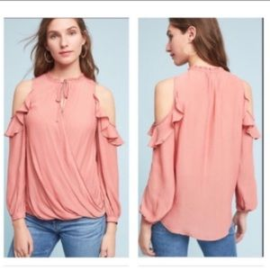 Anthro Maeve Liesel cold shoulder ruffle top XS